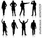 set black silhouettes of... | Shutterstock .eps vector #605692529