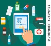 online pharmacy isolated vector ... | Shutterstock .eps vector #605695481