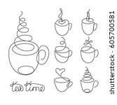 set of continuous line cups of... | Shutterstock .eps vector #605700581