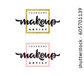 makeup artist fashion logo.... | Shutterstock .eps vector #605701139