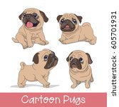 set of the funny cartoon pugs... | Shutterstock .eps vector #605701931