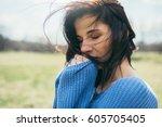 close up portrait of attractive ... | Shutterstock . vector #605705405