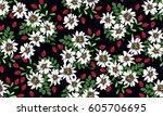 vintage feed sack pattern in... | Shutterstock .eps vector #605706695