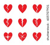 broken red heart icon set.... | Shutterstock .eps vector #605707931