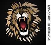abstract roaring  lion  ... | Shutterstock .eps vector #605709305