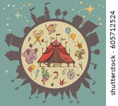 circus show. clowns  mages ... | Shutterstock .eps vector #605712524