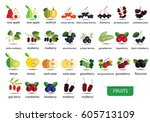 fruits icons vector | Shutterstock .eps vector #605713109