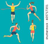 dynamic running people set.... | Shutterstock .eps vector #605717351