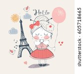little girl in paris. hand... | Shutterstock .eps vector #605718665