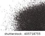 poppy seeds isolated on white... | Shutterstock . vector #605718755