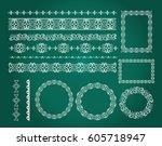 set of empty round frames ... | Shutterstock .eps vector #605718947