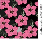 vector seamless pattern flowers ... | Shutterstock .eps vector #605719007