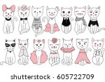 Stock vector big vector collection with cute fashion cats stylish kitten set trendy illustration in sketch 605722709