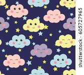 cute seamless pattern with cute ... | Shutterstock .eps vector #605727965