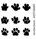black footprints of... | Shutterstock .eps vector #605728685