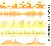 vector set of yellow sound... | Shutterstock .eps vector #605729351