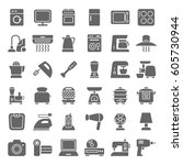 set of home appliances and... | Shutterstock .eps vector #605730944