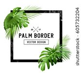 a border frame design decorated ... | Shutterstock .eps vector #605732204