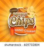 chips potato classic label... | Shutterstock .eps vector #605732804