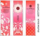 set of three vertical banners....   Shutterstock .eps vector #605734949