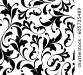 seamless floral pattern for... | Shutterstock .eps vector #605735489