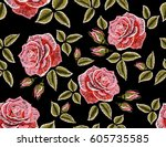 embroidery colorful floral... | Shutterstock .eps vector #605735585