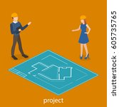 isometric 3d concept engineers... | Shutterstock . vector #605735765