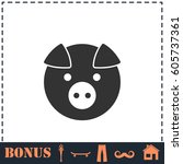 pig icon flat. simple... | Shutterstock . vector #605737361