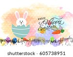 happy easter day greeting with...   Shutterstock .eps vector #605738951