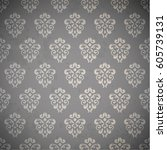 wallpaper with vintage pattern  | Shutterstock .eps vector #605739131