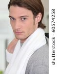 portrait of a man with towel | Shutterstock . vector #60574258