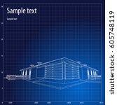 architecture grid blueprint... | Shutterstock .eps vector #605748119