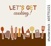 menu or recipe book design. set ... | Shutterstock .eps vector #605751221