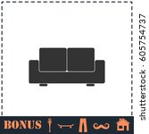 sofa icon flat. simple... | Shutterstock . vector #605754737