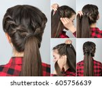 tutorial photo step by step of... | Shutterstock . vector #605756639