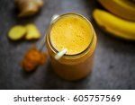 pineapple  carrot and banana... | Shutterstock . vector #605757569