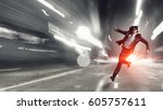 man in virtual helmet . mixed... | Shutterstock . vector #605757611