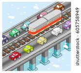 cars and train on bridge ... | Shutterstock .eps vector #605758949