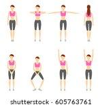 girl dioing exercise on white... | Shutterstock .eps vector #605763761