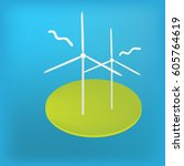 wind turbines vector icon... | Shutterstock .eps vector #605764619