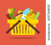 shopping basket with food and... | Shutterstock .eps vector #605764835
