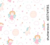 cute seamless pattern with... | Shutterstock .eps vector #605769581