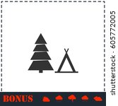 tourist tent icon flat. simple...