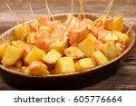 patatas bravas traditional... | Shutterstock . vector #605776664