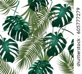 jungle thickets of tropical...   Shutterstock .eps vector #605777279