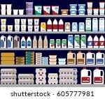 supermarket shelves with dairy... | Shutterstock .eps vector #605777981