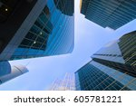 high rise buildings of moscow... | Shutterstock . vector #605781221