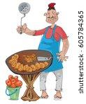 an indian street food vendor... | Shutterstock .eps vector #605784365
