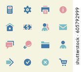 basic vector mobile icons. web... | Shutterstock .eps vector #605792999