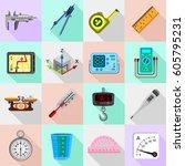 measure precision icons set.... | Shutterstock .eps vector #605795231